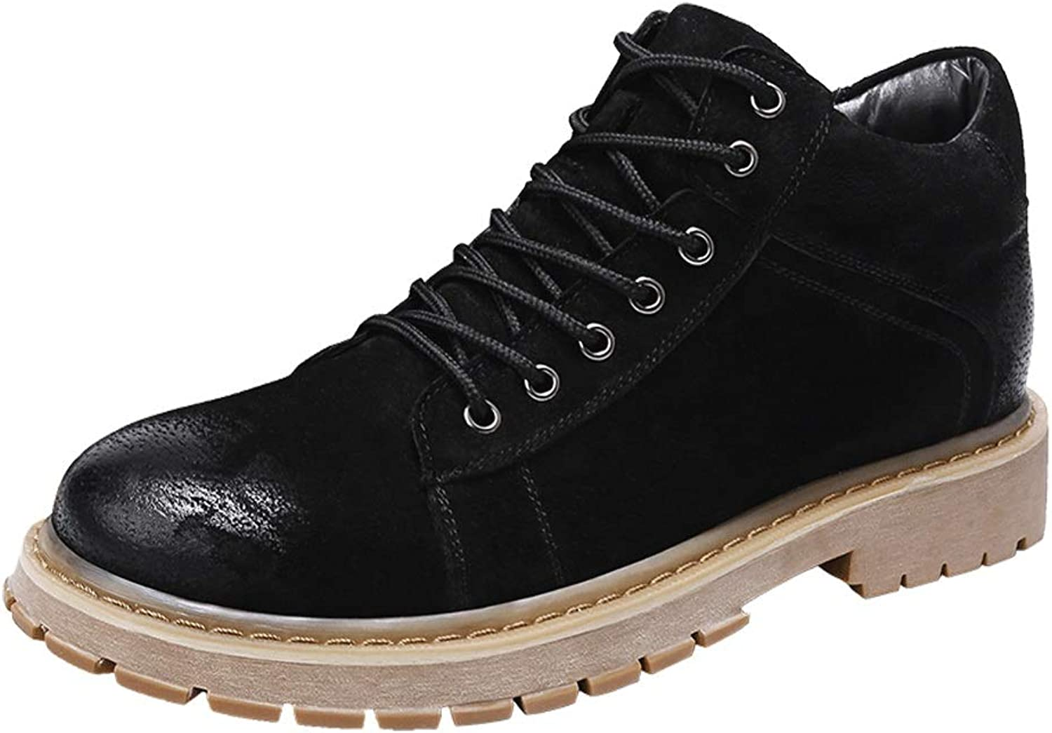 MUMUWU Men's Ankle Boots Casual Fashion Retro Comfortable Non-slip Outsole High Top Work shoes Winter