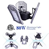 NATHOME led Garage Lights,80W Garage Lighting AC110V/E26 Daylight 8000lm/deformable Three Leaf Garage Light,Indoor use for Led Shop Lights,Workshop Light,Garage Work Lights (Daylight,'NO Sensor')
