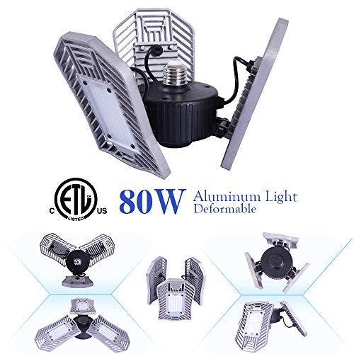 NATHOME led Garage Lights,80W Garage Lighting AC110V/E26 Daylight 8000lm/deformable Three Leaf Garage Light,Indoor use for Led Shop Lights,Workshop Light,Garage Work Lights (Daylight,'NO Sensor')