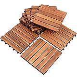 EINFEBEN Terrassenfliese Holzfliesen Akazie 5m², 30x30cm, Bodenbelag, Drainage, Garten Klick-Fliese