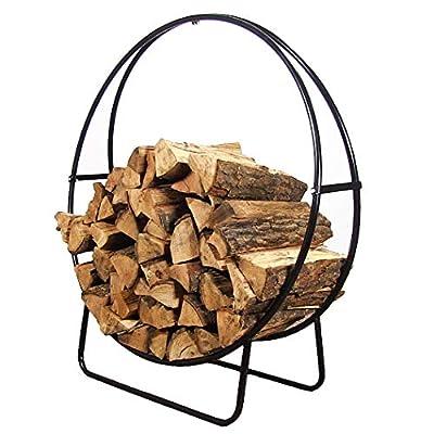 Sunnydaze 48-Inch Black Steel Indoor/Outdoor Firewood Log Hoop Rack - Round Tubular Metal Wood Storage Holder - Outside and Inside Fireplace Accessory