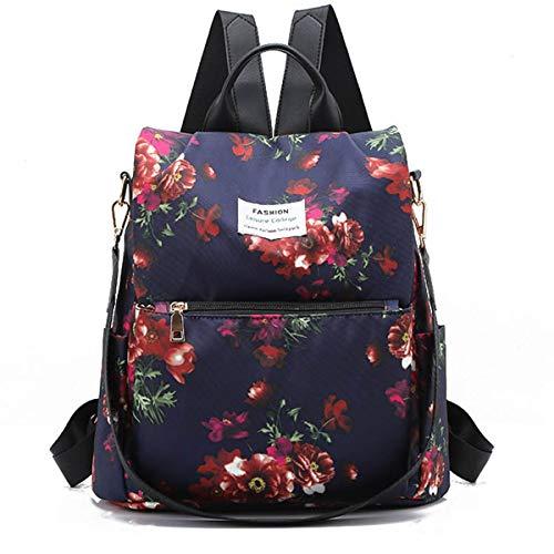 Women Travel Anti Theft Backpack Ladies Rucksack Nylon Waterproof Daypack Lightweight School Shoulder Bags - Large Capacity and Durable (Flower 2)