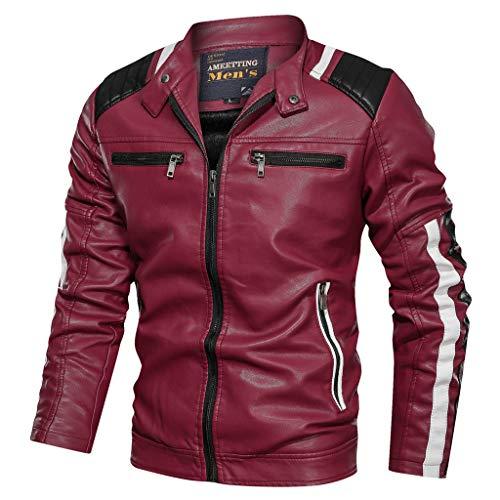 MAYOGO Herren Jacke Lederjacke Bikerjacke Motorradjacke wasserdichte und Winddichte Protector Jacke Motorrad Vintage Jacke Mens Punk Bicycle Jacket (rot, L)