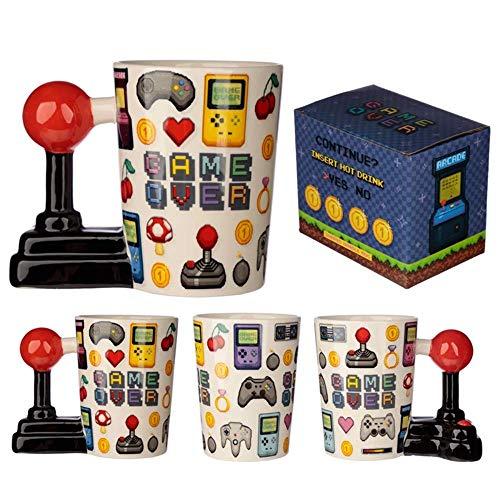 Puckator Joystick Tasse Game Over mit 3D Joystick am Henkel weiß, Bedruckt, 100% Keramik, in Geschenkverpackung.