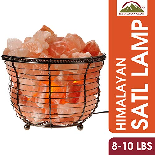Himalayan Glow Pink Salt Night light, Tall Round Natural Salt Lamp, 10LBS, Dimmable Table Lamp by WBM