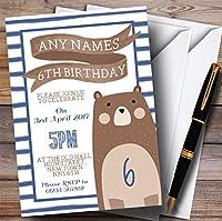 ブルーストライプTeddy Bear Childrens誕生日パーティー招待状 40 Invitations