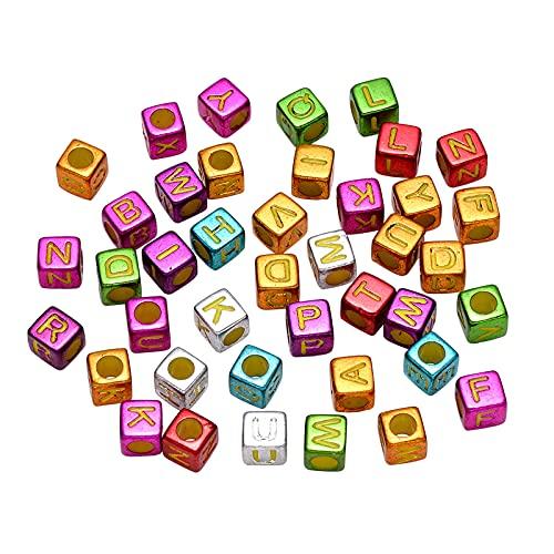Ornaland 640 Pieza de Cuentas Acrílicas Plateadas, Cubo con Letra Inicial, Color Mezclado, Mixto, 6x6x6mm