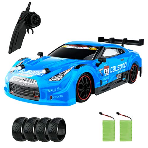 GT Drift Car RC Sport Racing Car Hight Speed Drift Vehicle 1/16 RC Car for Adults Kids Gifts, 4WD RTR Vehicle with LED Light, Two Batteries and Drift Tires - Red (Blue)