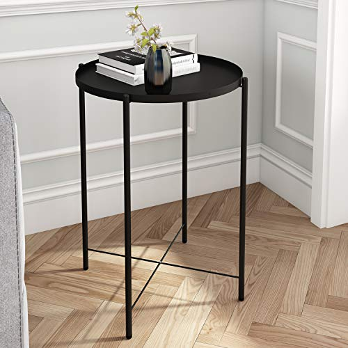 Joolihome Metal End Table, Small Round Sofa Side Table with Detachable Tray Top, Outdoor & Indoor Snack Coffee Table for Living Room, Hallway, Bedroom, Garden, Terrace, Balcony (Black)