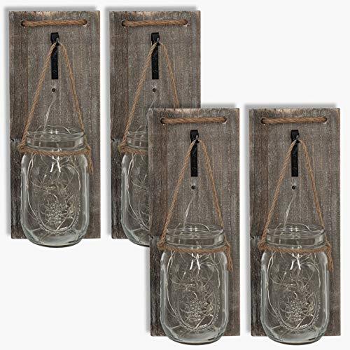 ISOTRONIC LED Lampe (4er Set) Leuchte Laterne, Hängeleuchte für Bad, Haus, Garten, Balkon und Außen Einmachglas Vorratsglas Deko für Party, Fest, Hochzeit (transparent)