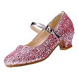 EIGHT KM Niñas Tacones Bajos Mary Jane Vestido Formal Bombas Zapatos EKM7015 Cristal Rosa Talla 30