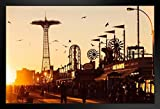 Coney Island Boardwalk Brighton Beach at Sunset Photo Black Wood Framed Art Poster 20x14
