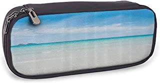 Estuche para lápices, Mesh Pocket Ocean Collection Beach en The Tropical Water Lands Crystal Color Sea con Magical Sky Surf Hot Paradise