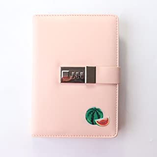New 2019 Fruit Design Leather School Diary notebooks Stationery,Cute Personal Agenda Planner Organizer,with Password Lock,Thick