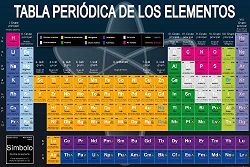 1art1 Ecole Posters XXL - Tabla Periódica De Los Elementos (120 x 80 cm)