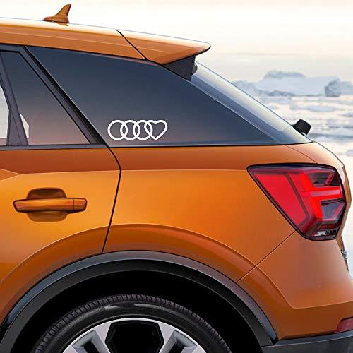 Autodomy Kompatibel mit Audi Reifen Herz Aufkleber Paket 2 Stück für Auto (Weiß)