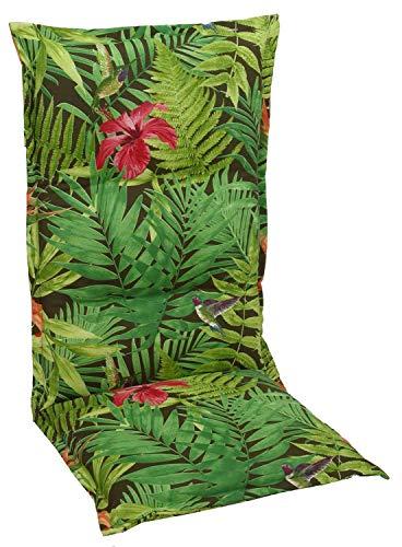 Hochlehner Sesselauflage Sitzpolster Gartenstuhlauflage Stuhlauflage Polsterauflage | 120 x 50 x 6 cm | Grün | Dschungelmuster | Baumwolle | Polyester