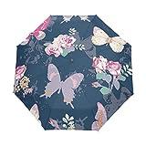 Kleiner Regenschirm Winddicht im Freien Regen Sonne UV Auto Compact 3-Fach Regenschirm Abdeckung - Butter Fly Rose