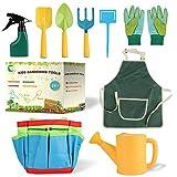 Osugin 10 unidades de herramientas de jardín para niños, herramientas de jardín para niños, incluye bolsa de herramientas puntiaguda, pala cuadrada, rastrillo, guantes, jarra de riego