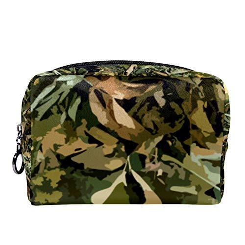 Bolsa de cosméticos Bolsa de Maquillaje para Mujer para Viajar para Llevar cosméticos, Cambio, Llaves, etc. Patrón sin Costuras Woodland Camo Color Military