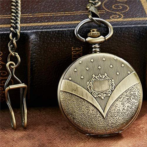 WEHOLY Taschenuhr Einzigartige Schnitzerei Bronze Römisches Zifferblatt Mehanical Taschenuhr Kette Glatter Handaufzug Mechanische Herren Damenuhren