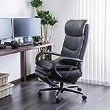 【カリモク正規品】デスクチェア 昇降調節可能 在宅ワーク 書斎椅子 360°回転 ブラック 幅75cm 本革張り karimoku XU7720BBK 幅75奥行75高さ112座高47cm