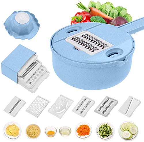Multifunctionele Chopper Grater Slicer Shredder - Multifunctionele Keuken Julienne Grater met Guard en Witte Ei Separator - Food Dicer 12 in 1 Blu