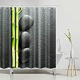 N/ Cortina de baño Bambú y guijarros Cortinas de baño de diseño Set de decoración Negro 12 Ganchos 183X183CM