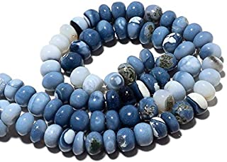 9 inch strand natural blue opal 8.5 mm rondelle smooth beads for jewelry making - blue opal rondelle, natural blue opal beads, peruvian opal beads, 8.5mm rondelle beads, 9 inch half strand