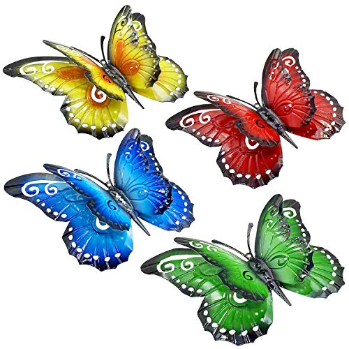 Large Metal Butterfly Wall Art Outdoor Decor - 4 Pack 9.8in Butterflies Wall Sculpture Hanging Decor for Home Yard Patio Garden Decoration (4 Colors)