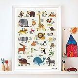 byGraziela Tier ABC Poster für Kinder | Hellbraun |