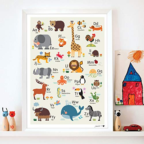 byGraziela Tier ABC Poster für Kinder | Hellbraun | Lernposter Deutsch | Größe 50x70 |