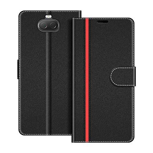 COODIO Handyhülle für Sony Xperia 10 Handy Hülle, Sony Xperia 10 Hülle Leder Handytasche für Sony Xperia 10 Klapphülle Tasche, Schwarz/Rot