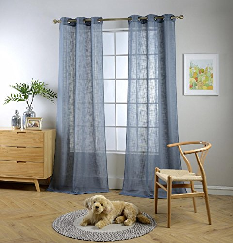MIUCO Semi Sheer Curtains Poly Linen Textured Solid Grommet Curtains 84 Inches Long for Living Room 2 Panels (2 x 37 Wide x 84' Long) Dusty Blue