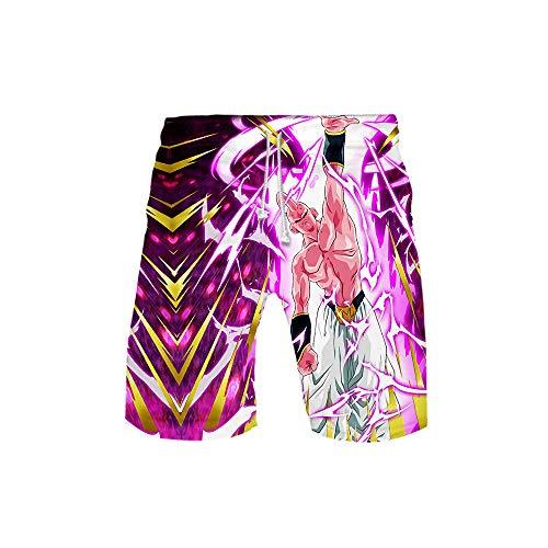 MLX-BUMU Traje De Baño para Hombres Pantalones Casuales Cinturón De Bolsillo Gráficos Impresos En 3D Pantalones Cortos De Playa Bañador De Verano Anime Dragon Ball,S