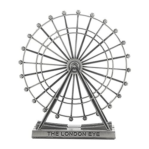 1 pieza de metal de la rueda de la noria del ornamento portátil giratorio de la rueda de la noria ornamento de escritorio para la decoración del