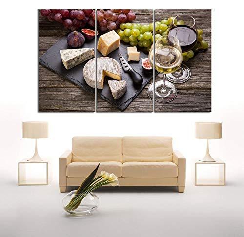 WENJING kaas witte wijn levensmiddelen print decoratie poster en afdrukken muurkunst canvas schilderij muurschilderijen 50X100Cmx3 stuks geen lijst