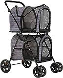 VIAGDO Double Pet Stroller for Small Medium Dogs & Cats, Detachable 4 Wheels