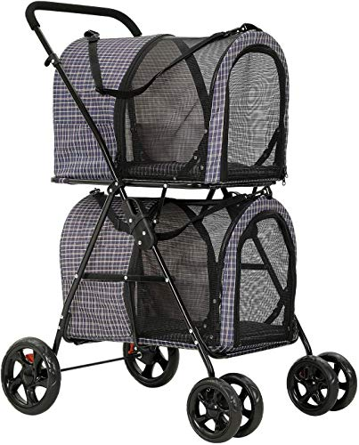 VIAGDO Doppelschichtiger Hundewagen Abnehmbarer Hundebuggy Haustier Kinderwagen - mit 2 hundetasche/katzentransportbox
