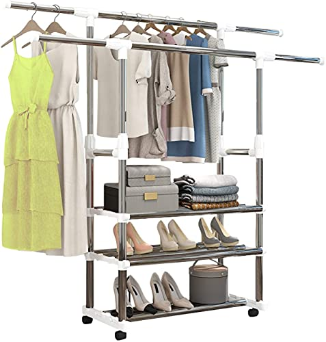 Double Rod Portable Clothing Hanging Garment Rack, 3-Tier Collapsible Clothes Drying Rack with Casters, Metal Hang Dry Clothes Rack For Hanging Clothes and Lower Storage Shelf For Boxes Shoes Boots