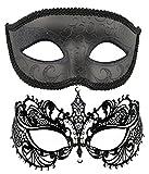 Coddsmz - Juego de 2 antifaces venecianos de Corte láser para Disfraz de Martes de Carnaval, de Metal + plástico, Unisex, Color Negro-2, tamaño Mediano