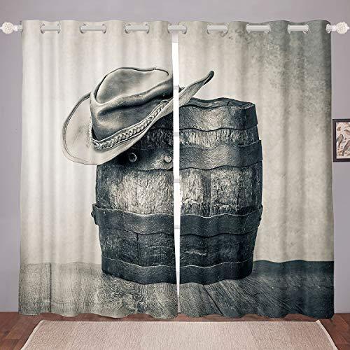 Homemissing Cortinas estilo vaquero occidental para ventana para niños y adultos, estilo retro, estilo vaquero gris, decoración de habitación 46 x 54