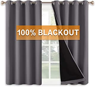 RYB HOME Grey Full Shade Curtain Panels, Energy Efficient Absorb Noise Blackout Curtains..