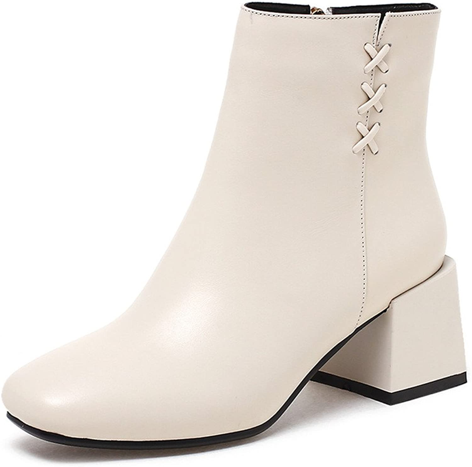 Nine Seven Genuine Leather Women's Square Toe Block Heel Simple Sexy Handmade Ankle Boots