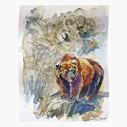 jcrew Bears Maure Grizzly Wildlife Bear Watercolor Bausch das Beste und neueste Plakat für Wandkunst Wohnkultur Zimmer