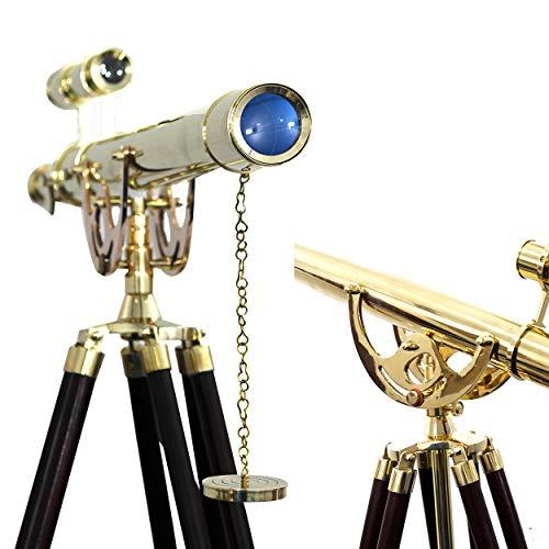 Maritime Telescope Wooden Tripod Stand Harbor Master Shiny Brass Double Barrel Telescope