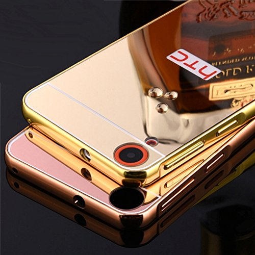 StyleMyBot Luxury Metal Bumper Acrylic Mirror Back Cover Case for HTC Desire 626 - Gold Plated