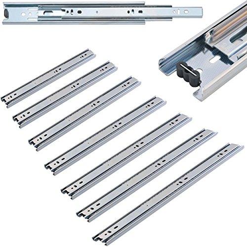 1x Paar Schienen für Schubladen - flüssige & präzise Schubladen Auszüge aus Stahl - Vollauszug, verschiedene Größen (40-80 cm)