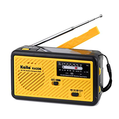 Kaito Voyager ECO Emergency Radio KA336 AM/FM NOAA Weather Alert 5-Way Powered Solar Crank Radio Receiver with LED Flashlight and USB Mobile Phone Charger