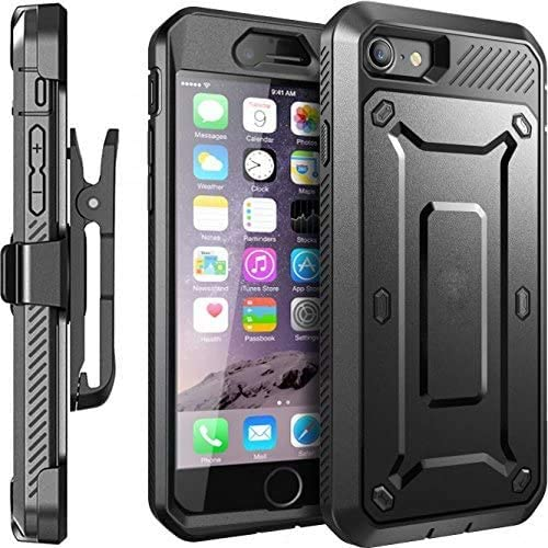 Moona iPhone 6S Case with Belt Clip Hybrid Full Armor Protective Shockproof Case Rotating Holster Combo Case for Apple iPhone 6S / 6 4.7 (Black)